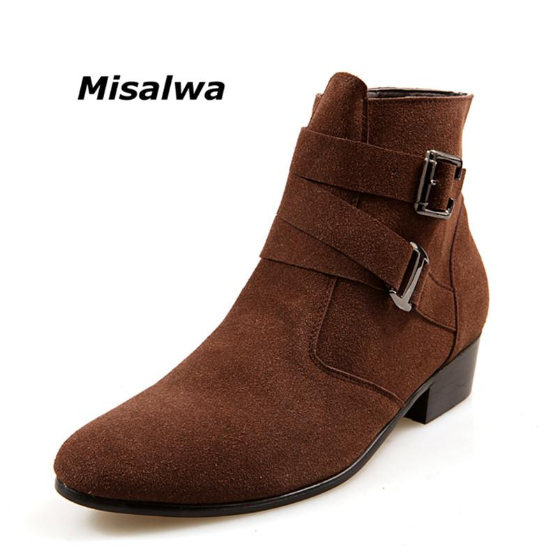 Misalwa Men S Black Classic Chelsea Natural Suede Leather Boots Male Brown  Heel Riding Buckle Fashion Stylish Camel Ankle Boots Black Knee High Boots  Chukka ... 98aa129d3