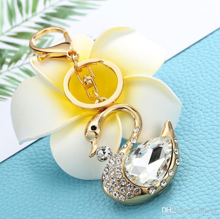 a76b88568fd6 Beautiful Swan Keychain Fashion Crystal Rhinestone Key Chain Ring Holder  Womens Purse Bag Pendant Jewelry Accessories Wedding Favor Couples Keychains  Couple ...