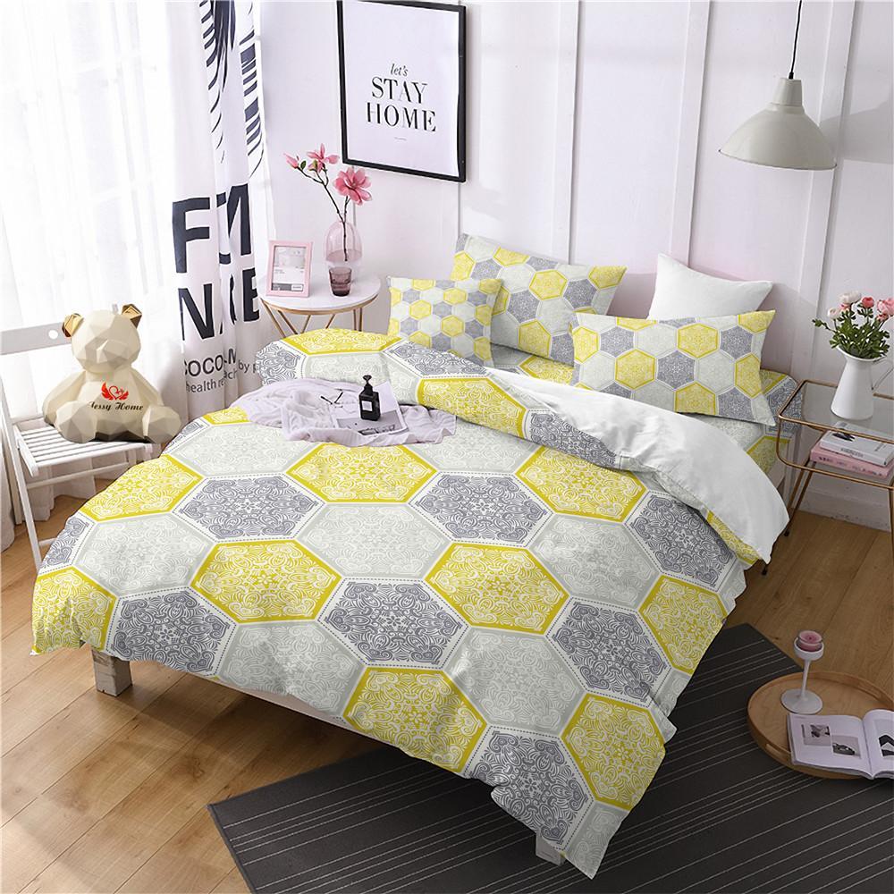 Ethnic Yellow Comforter Bedding Sets Splice Duvet Cover Set Queen