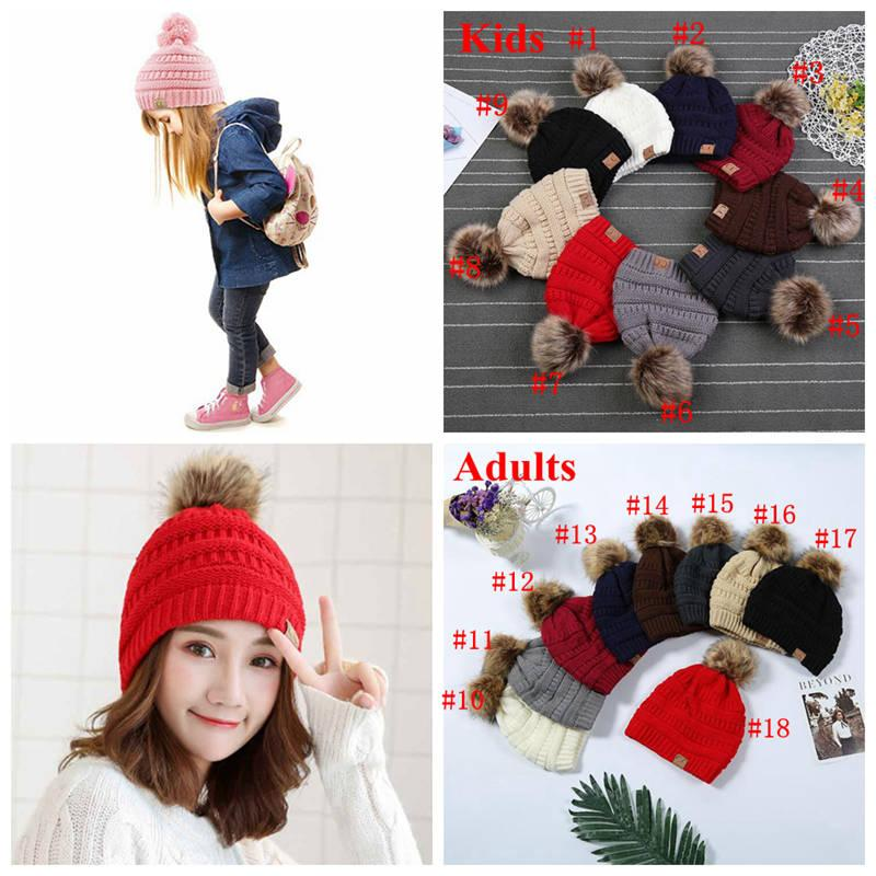 9ea6b8e9ba8 Kids   Adults CC Fur Poms Beanie With Liner Trendy Hats Winter Knitted  Luxury Cable Slouchy Skull Caps Leisure Beanies 20pcs