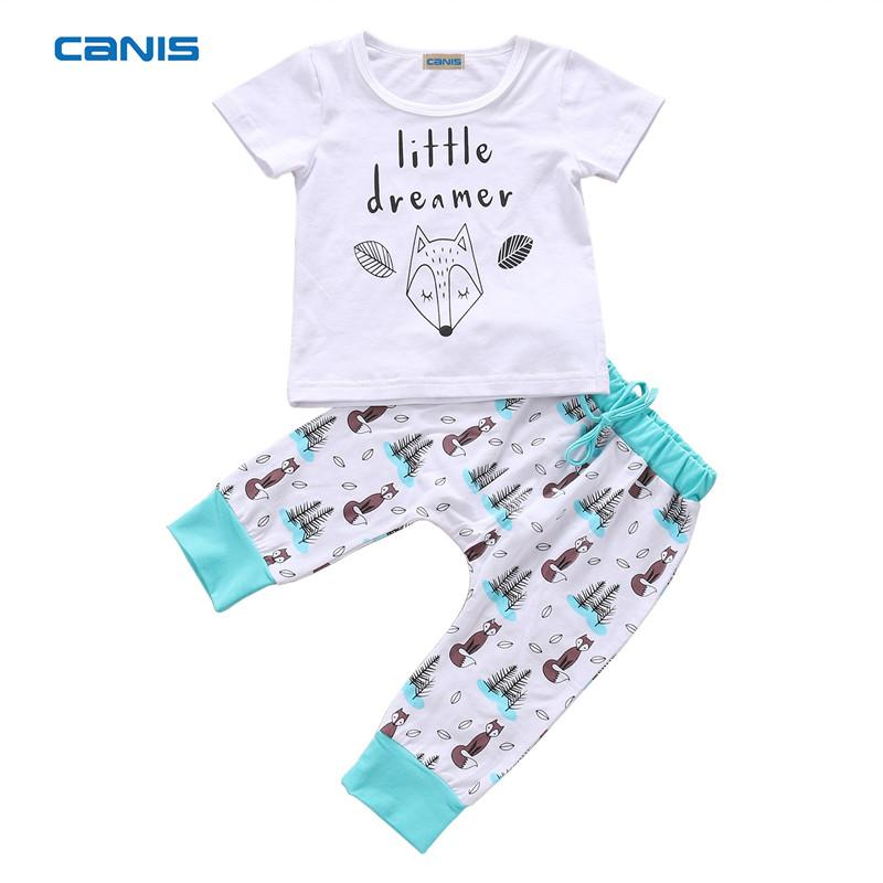 64930f0d6b8 2019 2018 Summer Cute Baby Boy Clothes Newborn Infant Baby Girl Boys Letter  Fox T Shirt Tops+Pants Outfits Clothes 0 24M From Callshe