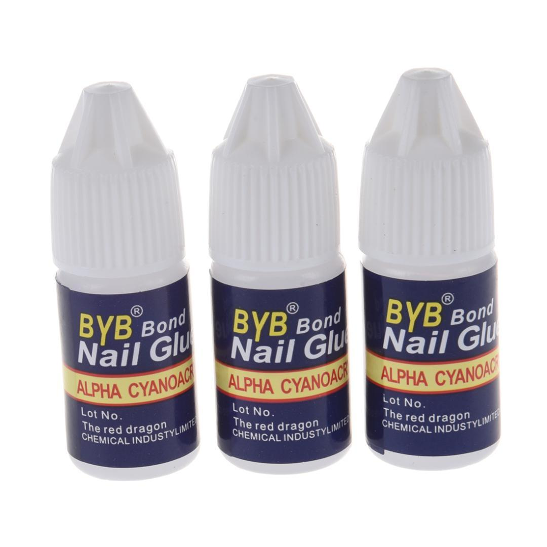 3g Fast Drying Acid Free Latex Nail Art Glue Tips Glitter Uv Acrylic ...