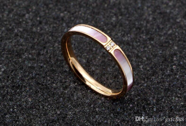 Korean version of the new micro-two diamond powder coated titanium steel rose gold ring tail ring fashion forefinger ring female