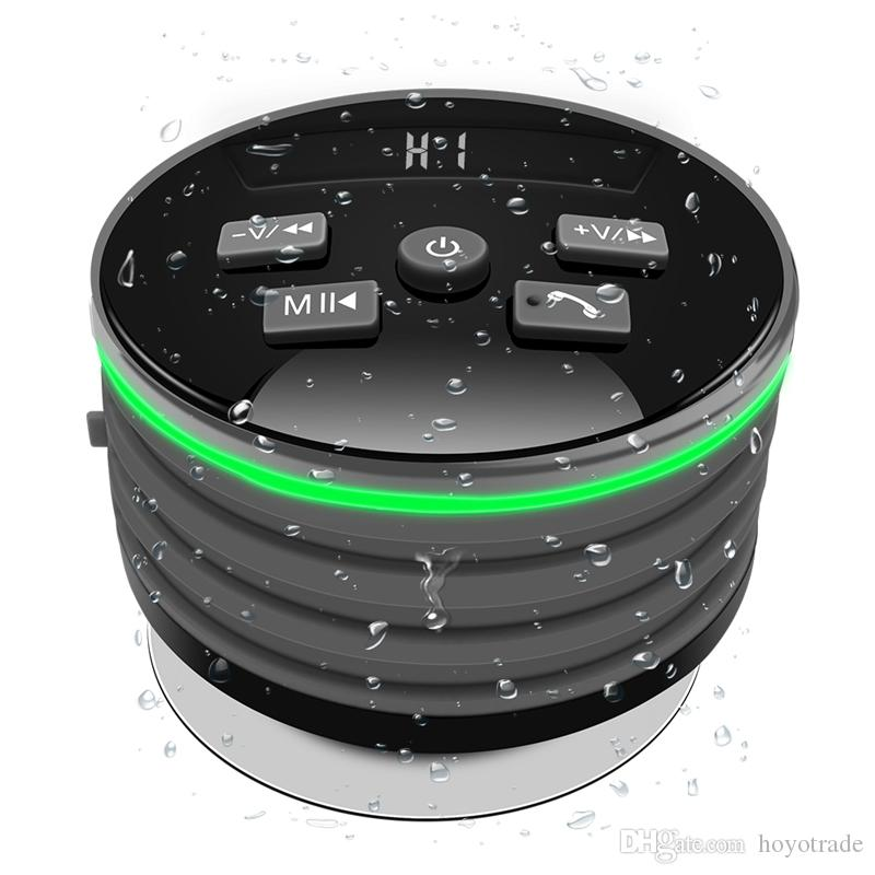 Portable Waterproof Bluetooth Speaker IPX7 Wireless Tub Suction With Breathing Light FM For Shower Kitchen Pool Bathroom Car MP3 Speakers