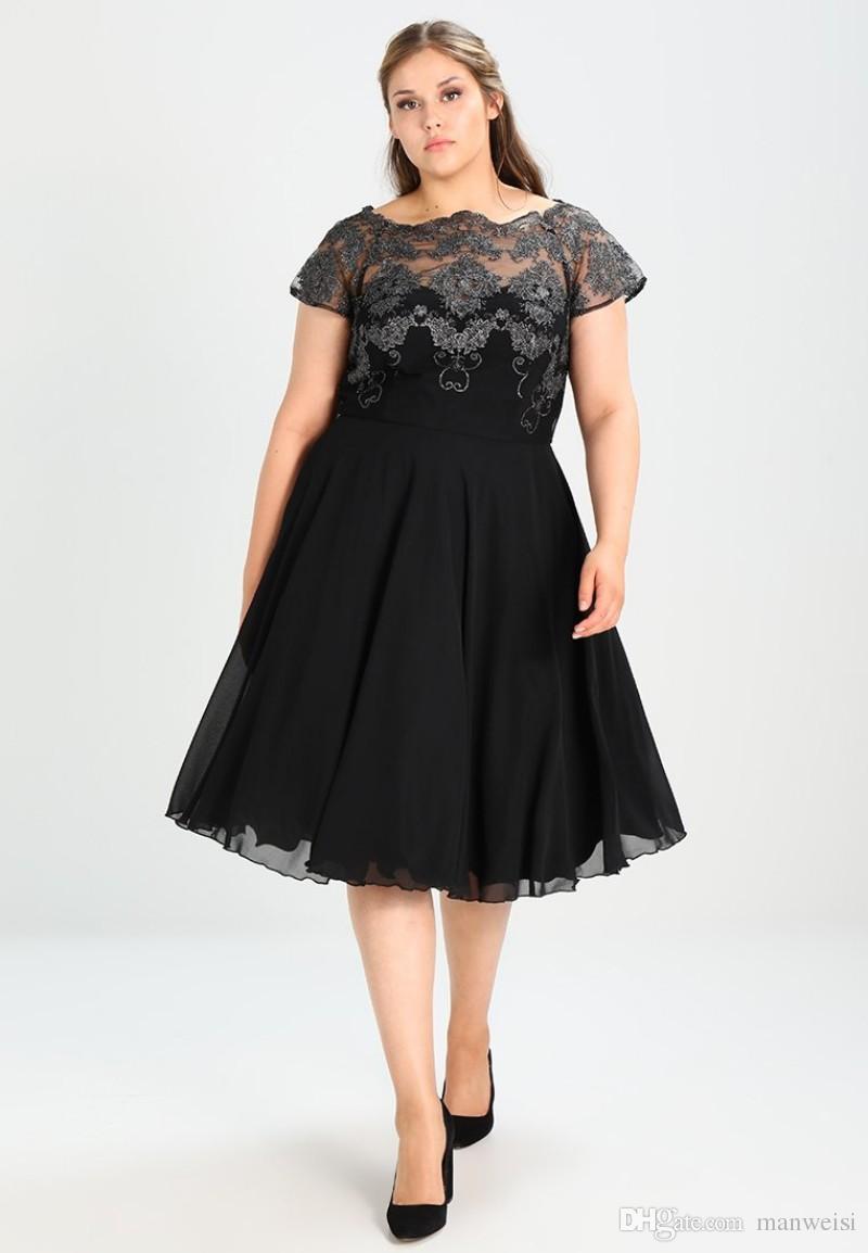 Black Plus Size Formal Prom Dresses Knee Length A Line Short Sleeve Lace  Appliqued Evening Gowns Cheap Special Occasion Dress Plus Size Dress Pants  ...