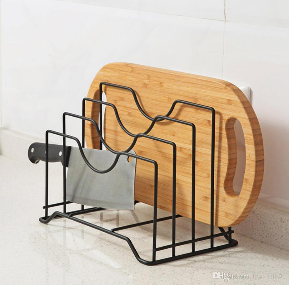 2018 creative stainless steel kitchen shelf rack cutting board book organizer storage pot silver drainer stand rack shelves from free life01