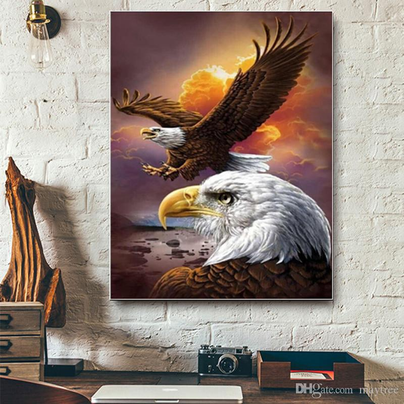 Full Drill 5d Diamond Painting -Eagle flying- Arts Craft for Home Wall Decor Festival Gift DIY Diamond Painting Kits