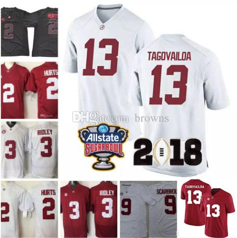 8ba26bd1b Hot Alabama Crimson Tide 13 Tua Tagovailoa 2 Jalen Hurts 3 Ridley 29  Fitzpatrick 9 Scarbrough Red White 2018 Championship Football Jerseys UK  2019 From ...
