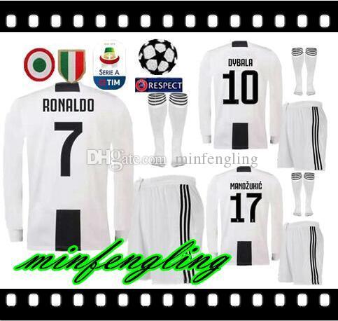 newest 96985 ae288 Best 18 19 Juventus Long sleeve Jersey soccer kit 7 RONALDO #10 DYBALA  Soccer Shirt 2019 MANDZUKIC champions league men football uniform