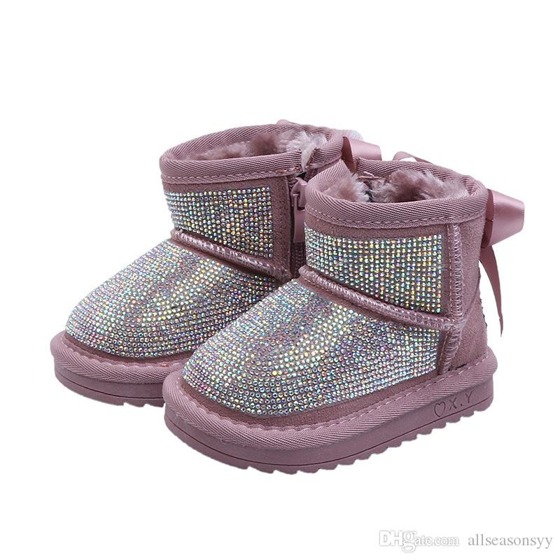 2ec75cd9b0a New Winter Baby Girl Rhinestone Snow Boots Children Bow Warm Shoes Toddler  Fur Boots Black Fashion Soft Shoes Waterproof Boots Kids Girls Black Boots  Size 1 ...