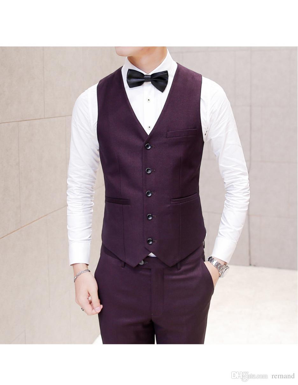 Gilet Uomo Matrimonio : Acquista ingrosso uomo suit vest matrimonio slim fit burgundy gilet
