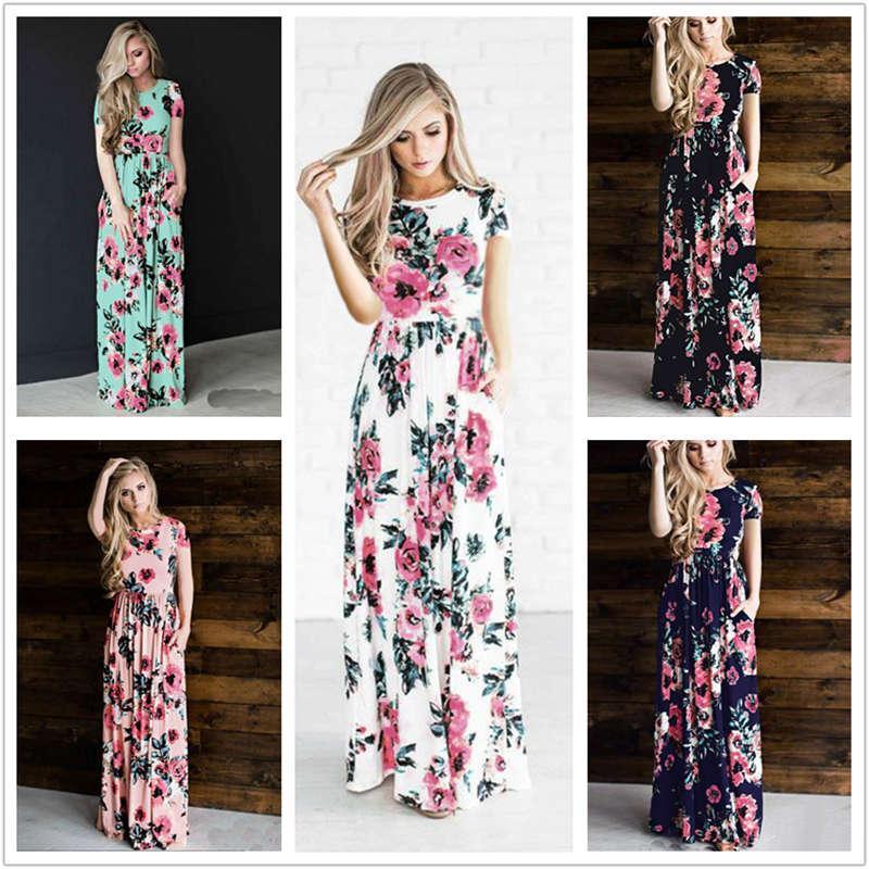6ae820888d Women Floral Print Short Sleeve Boho Dress Evening Gown Party Long Maxi  Dress Summer Sundress Short Cocktail Dress Purple Dresses For Juniors From  ...