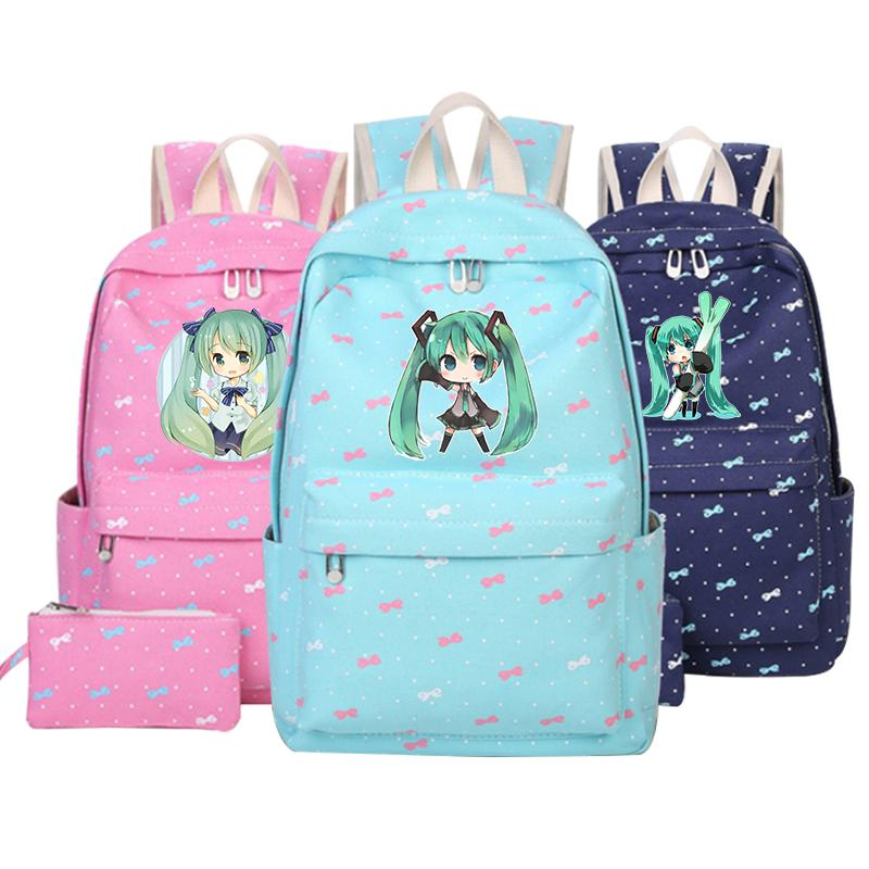 Hatsune Miku Backpack Anime Vocaloid Canvas Laptop Student School Bag Free  Shipping Japan Anime Children Shoulder Rucksack