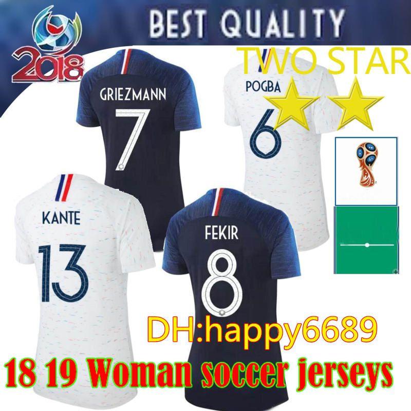 2018 Copa Del Mundo 2 Estrellas Jersey De Futbol Femenino GRIEZMANN POGBA  MATUIDI VARANE LLORIS GIROUD KANTE MBAPPE Camisa De Futbol Juvenil  Personalizada ... 1f3f44345e2db