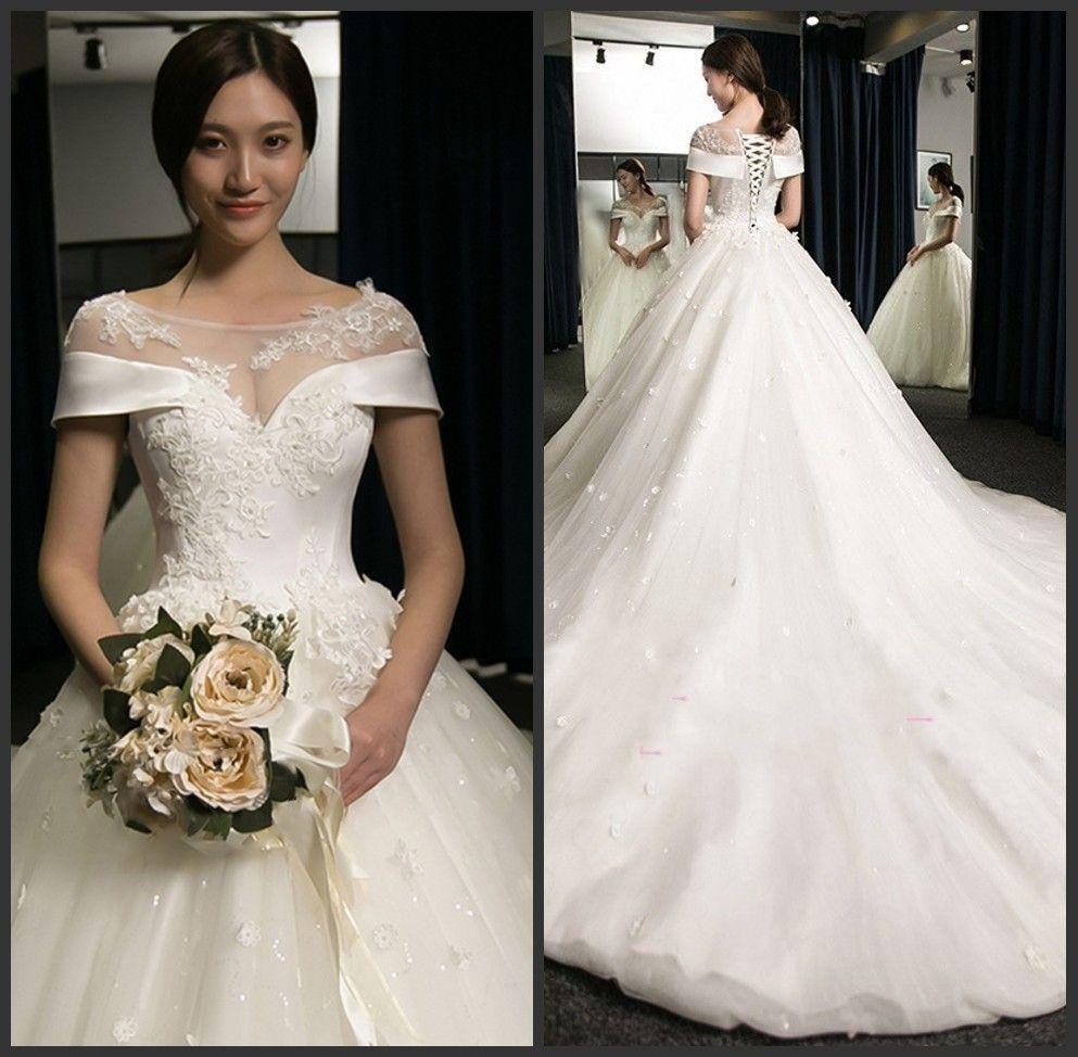 Beaded Cheap Organza Beach Wedding Dresses China Ball Gown: Satin Organza Online Lace Appliqued Ball Gown Wedding
