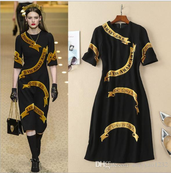 a2440dc9ef 2019 2018 Brand Same Style Dress Letter Linen A Line Wedding Mid Calf Short  Sleeve Fashion Runway Dress AS From Amyyao1232