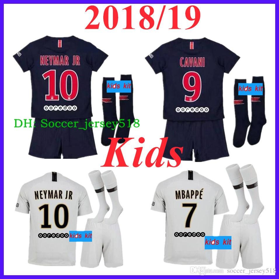 9bd76713b 2018 19 Paris Kids Kits Soccer Jerseys 7  MBAPPE VERRATTI MATUIDI ...