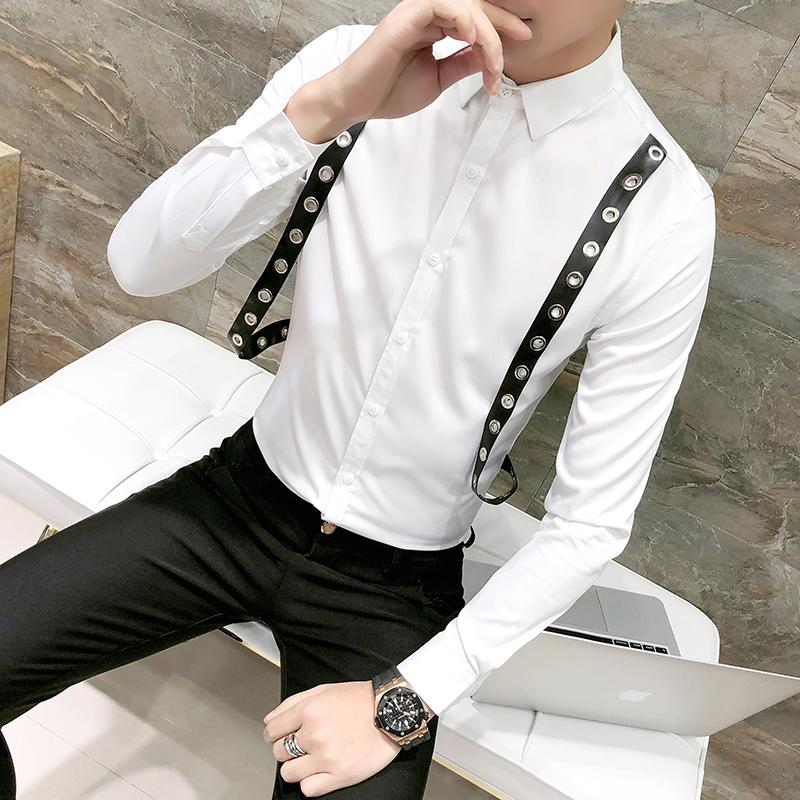 75f56427988397 2019 Hot Sale Men Shirt Fashion 2018 Spring New Belt Decor Tuxedo Shirt For  Men Long Sleeve Slim Fit Solid Party Social Shirts Male From Huoxiang