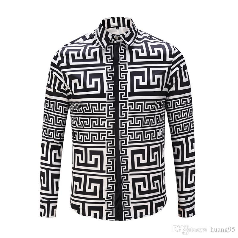 4575a63ca5 Compre Camisas Para Hombres 2018 Nueva Camisa De Rayas Retro Medusa Camisa  De Hombre Casual Camisa De Color Blanco Y Negro Estampado Tops De Negocios  Para ...
