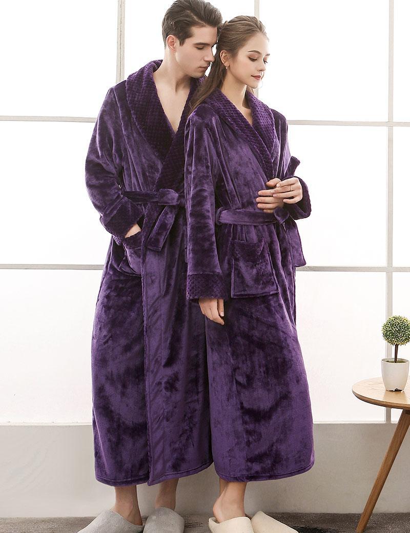 9e45dc19cb5 Man And Woman Flannel Satin Robe Winter Long Bathrobe Dressing Gown Womens  Robes Sleepwear Female Sexy Pajamas Cotton UK 2019 From Cardigun