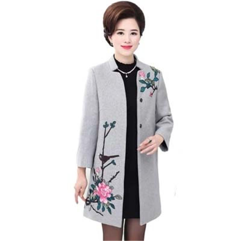 a3193cd8a6a 2019 2018 NEW Fashion Plus Size Winter Jacket Coats Women Vintage Floral  Embroidery Wool Coat Middle Aged Autumn Woolen Overcoat L939 D18103106 From  ...