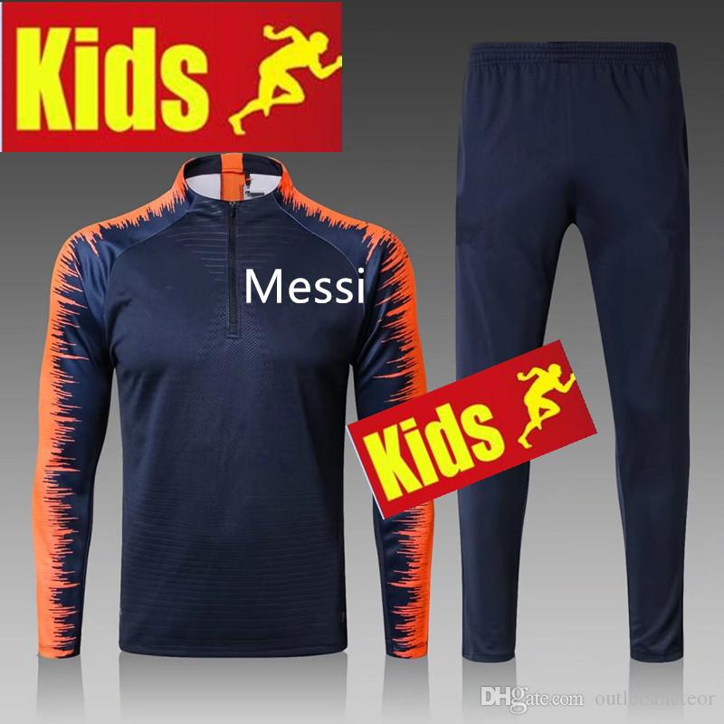 09290de811b 2019 2018 MESSI Soccer Kids Jersey Tracksuit Training 18 19 MESSI Maillot  De Foot Neymar SUAREZ Football Boys Jacket Tracksuit Training Suit From ...