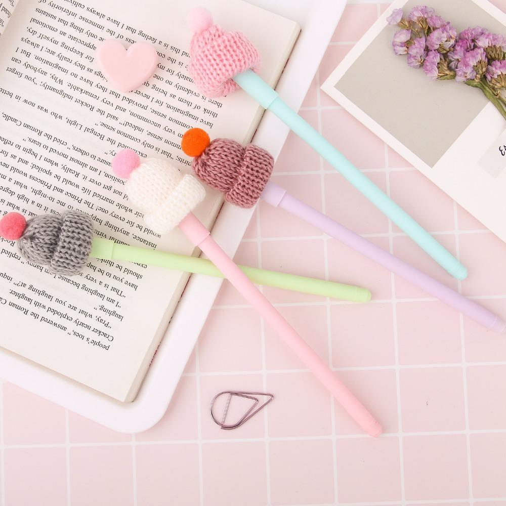 24 Pcs/Lot Kawaii Hat Gel Pen 0.5mm Black Color Writing Pens Sweet Girl Gift Stationery Office Accessories School Supplies Promotion