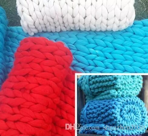 60 * 60cm 100 * 80cm Calda maglia pesante coperta di lana di filato spesso spessa Bulky maglia a maglia tiro kititted coperta fotografia i 2018