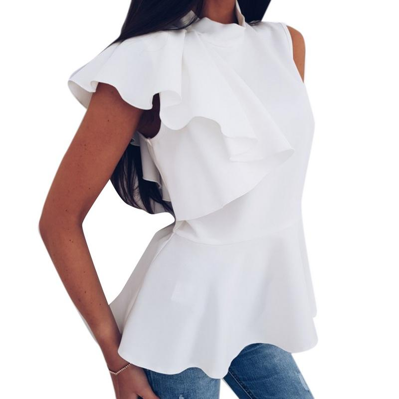 4ef58ee5936 2019 Laamei 2018 Summer Autumn Solid Color Tee Top Ruffled Blouse Female  Fashion Vest Split Tank Top Women Cotton Sleeveless Camis From Sideceam, ...