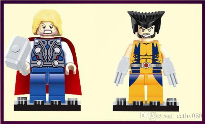 المنتقمون بطل السوبر شخصيات مصغرة كتل باتمان لوغان ثور سوبرمان الهيكل بناء كتل مجموعات الاطفال لعبة الطوب