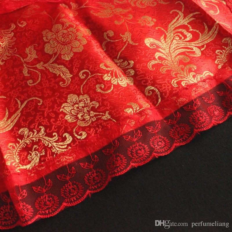 Frauen-Dame-Hochzeits-Schürze-Kleid-rote Spitze Rüschen-Braut-Schürze-Schellfisch-traditionelle chinesische Hochzeitsfest-Festbankett-Versorgungen ZA6484