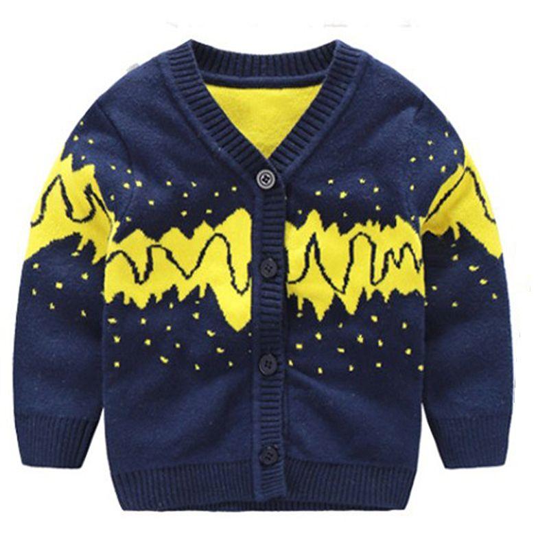 Cotton Baby Boys Sweater Crochet V Neck Infant Cardigan Tee Toddler