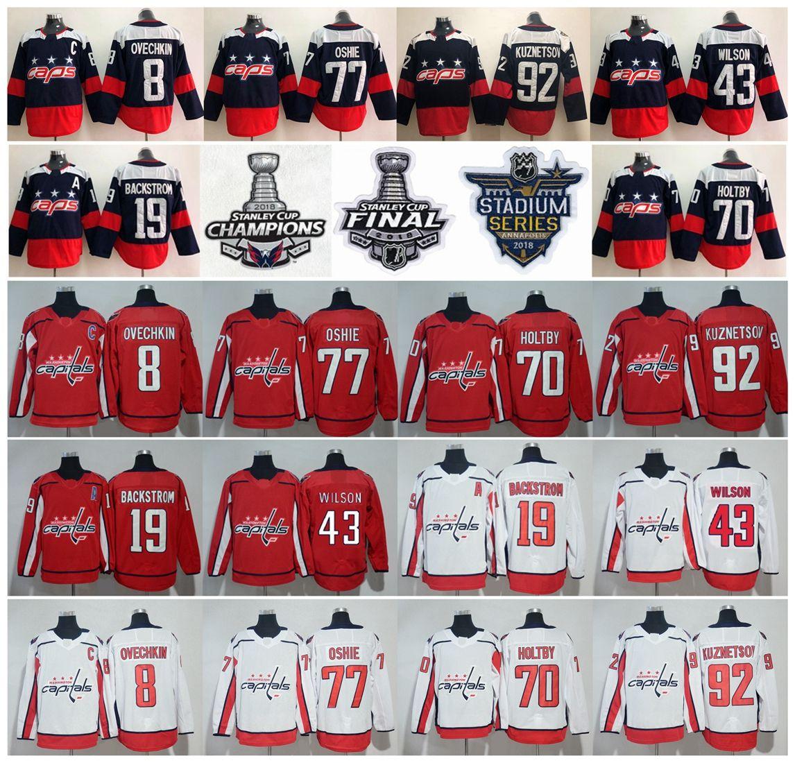 2019 Washington Capitals 2018 Stanley Cup Champions 8 Alex Ovechkin T.J.  Oshie Nicklas Backstrom Braden Holtby Evgeny Kuznetsov Tom Wilson Jersey  From ... c0de27094cb43