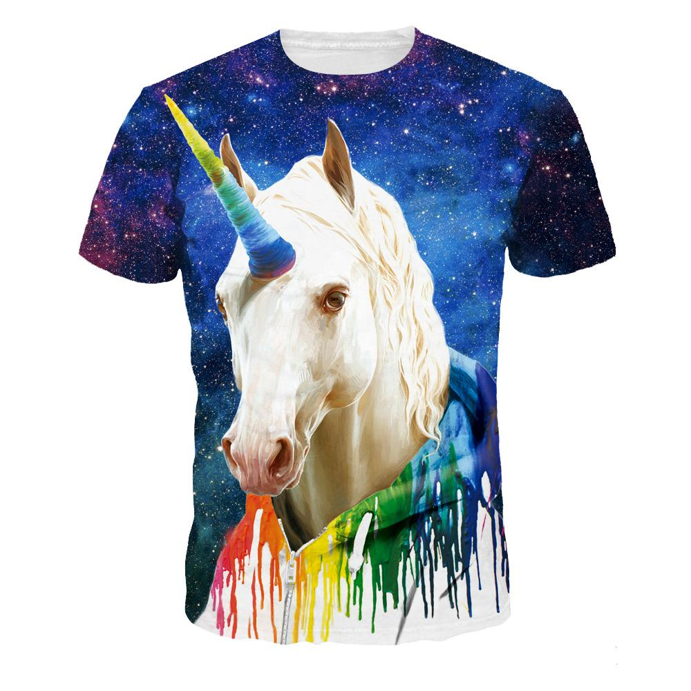01917aed Blue Men T-Shirts 3XL Casual 2018 3D Print Horse Tops Fashion High Quality  O-Neck Summer Short Sleeve Men's T-Shirts NA333