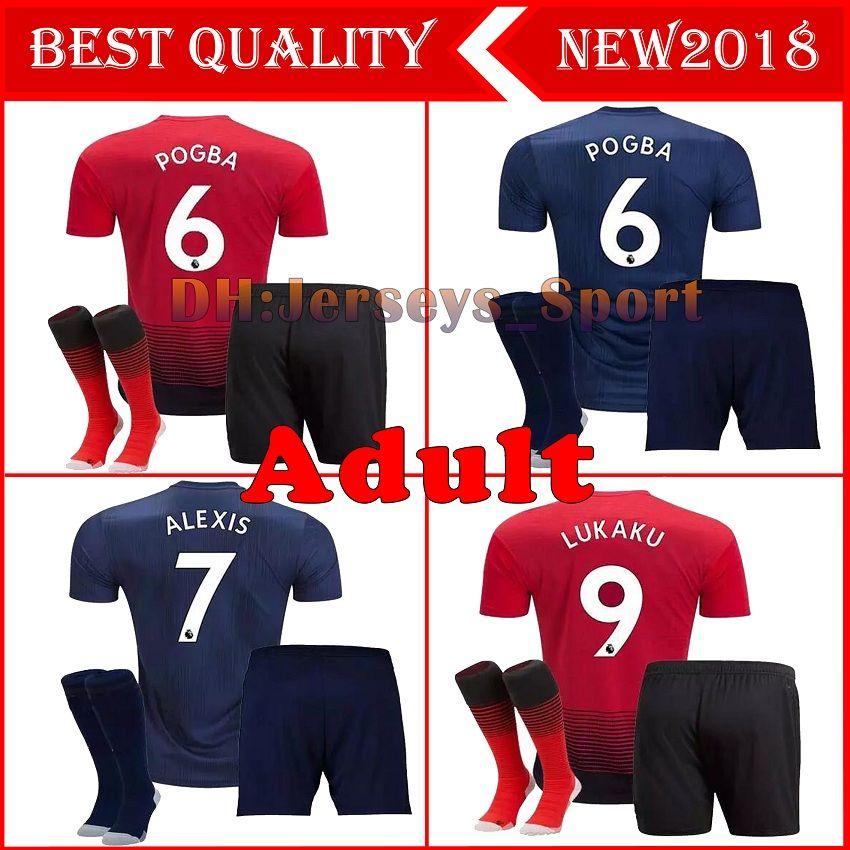 2019 Adult Kit+Socks Man Utd 18 19 Premier League ALEXIS LUKAKU Soccer  Jersey Full Kit Home Third POGBA RASHFORD Football Shirt MAILLOT DE FOOT  From ... b4a4b1060