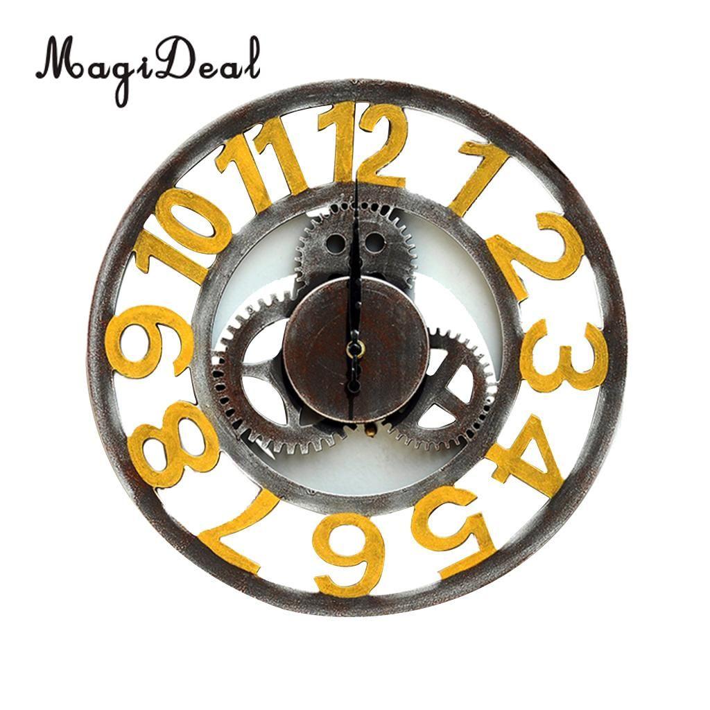 88a8f072e55 Compre Relógio De Parede De Engrenagem De Madeira Decorativa Do Vintage  Grande Rodada Relógio De Parede De Decoração Para Casa De Kunnylight