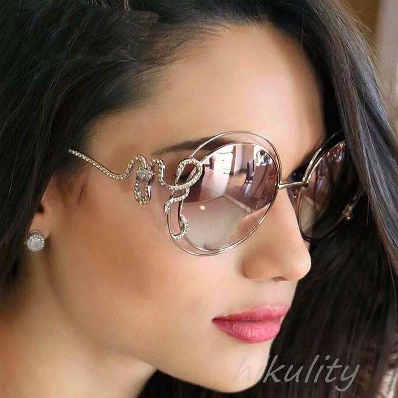 04c2229f3b Compre Gafas De Sol De Lujo Diamante Rosa Redondo Gafas De Sol Mujeres  Rhinestone Único Serpiente Diseñador Gafas De Sol Mujer Damas Sombras A  $4.99 Del ...