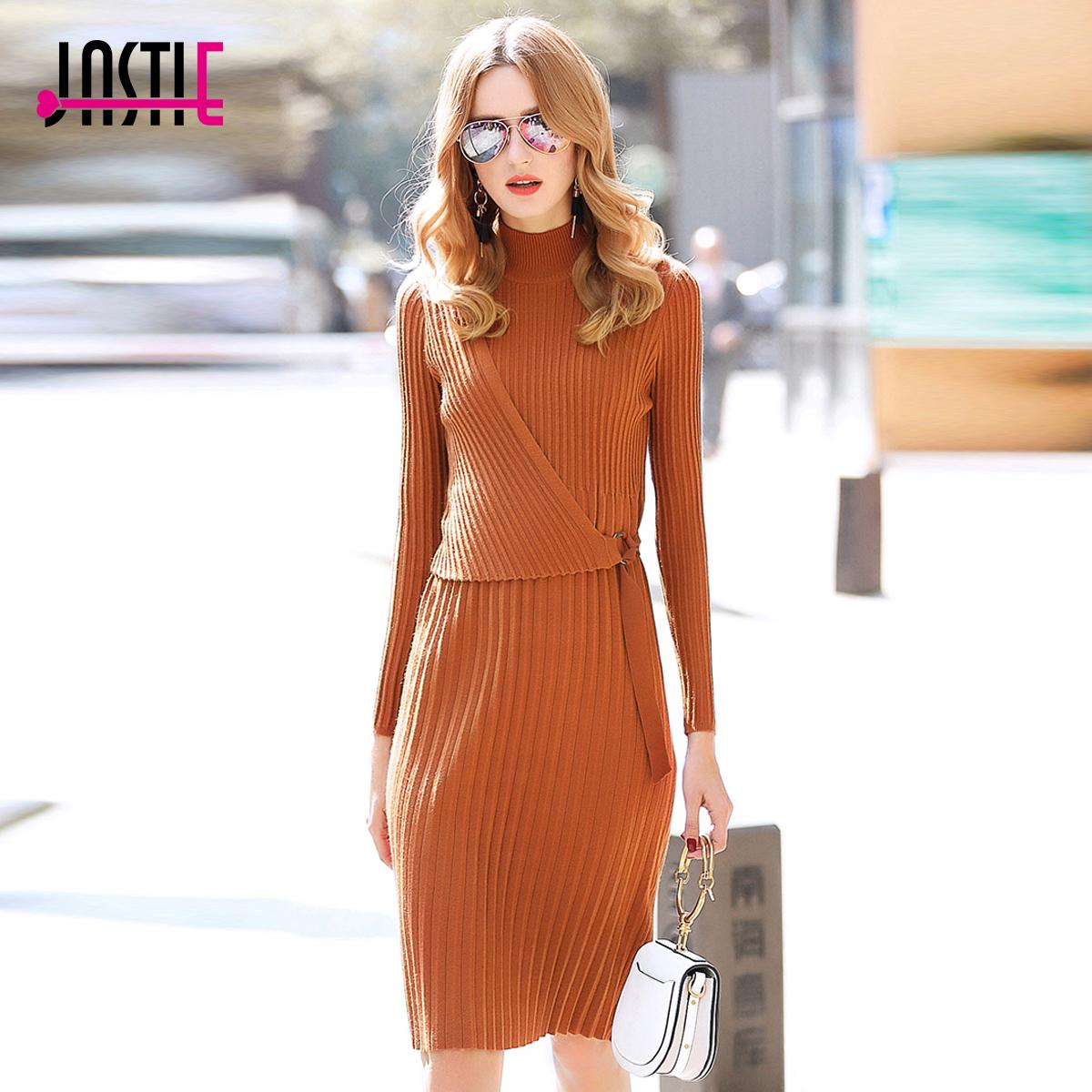 effa53831d54 2019 Jastie Turtleneck Long Sleeve Knit Women Dress Spring Autumn Midi  Dresses Slim Pleated Dress Elegant Bandage Boho Chic Vestidos From  Watch2013
