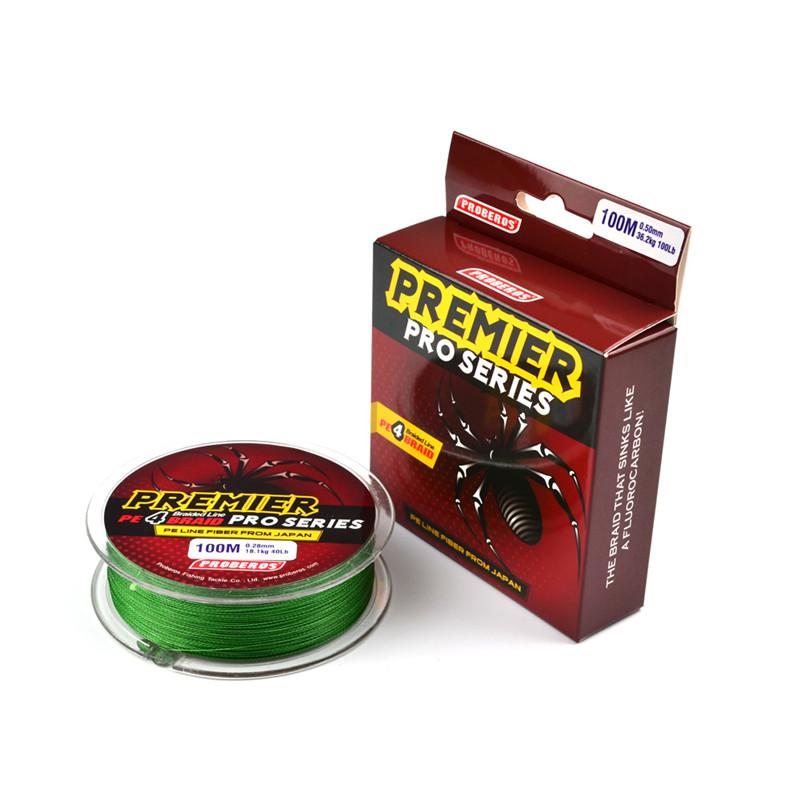 PREMIER PRO Series 4 Strand Spectra Braided Wire Ocean fishing lines 100m PE Fiber Braid Line From Japan 20LB~100LB Message Colors