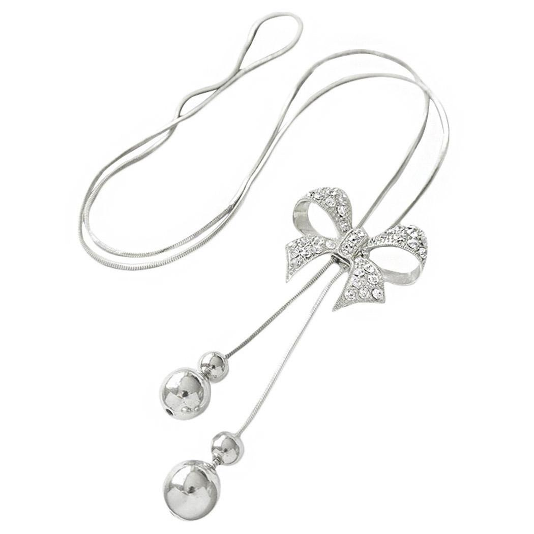 5b1eb30b1754 Collar de mujer Aleación Colgante de arco Colgando Cadena de bordillo  Cadena larga Bisutería Collares Cadenas (Plata)