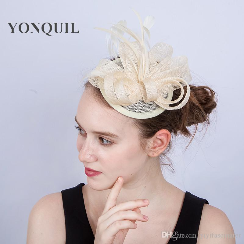 New Arrival Ladies Fascinators With Feather Racing Season Hats Ivory  Sinamay Wedding Hat For Cocktail Party Event Occasion SYF203 Ivory Hat  Ivory Wedding ... a7dc097d9c6