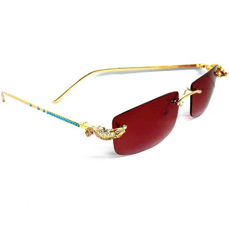 ed8986b5921 LAOKE Luxury Golden CORCODILE Rimless Glasses Frame Rhinestone Sunglass  Women Blue Diamond Brand Designer Sunglasses Men Discount Sunglasses Sports  ...