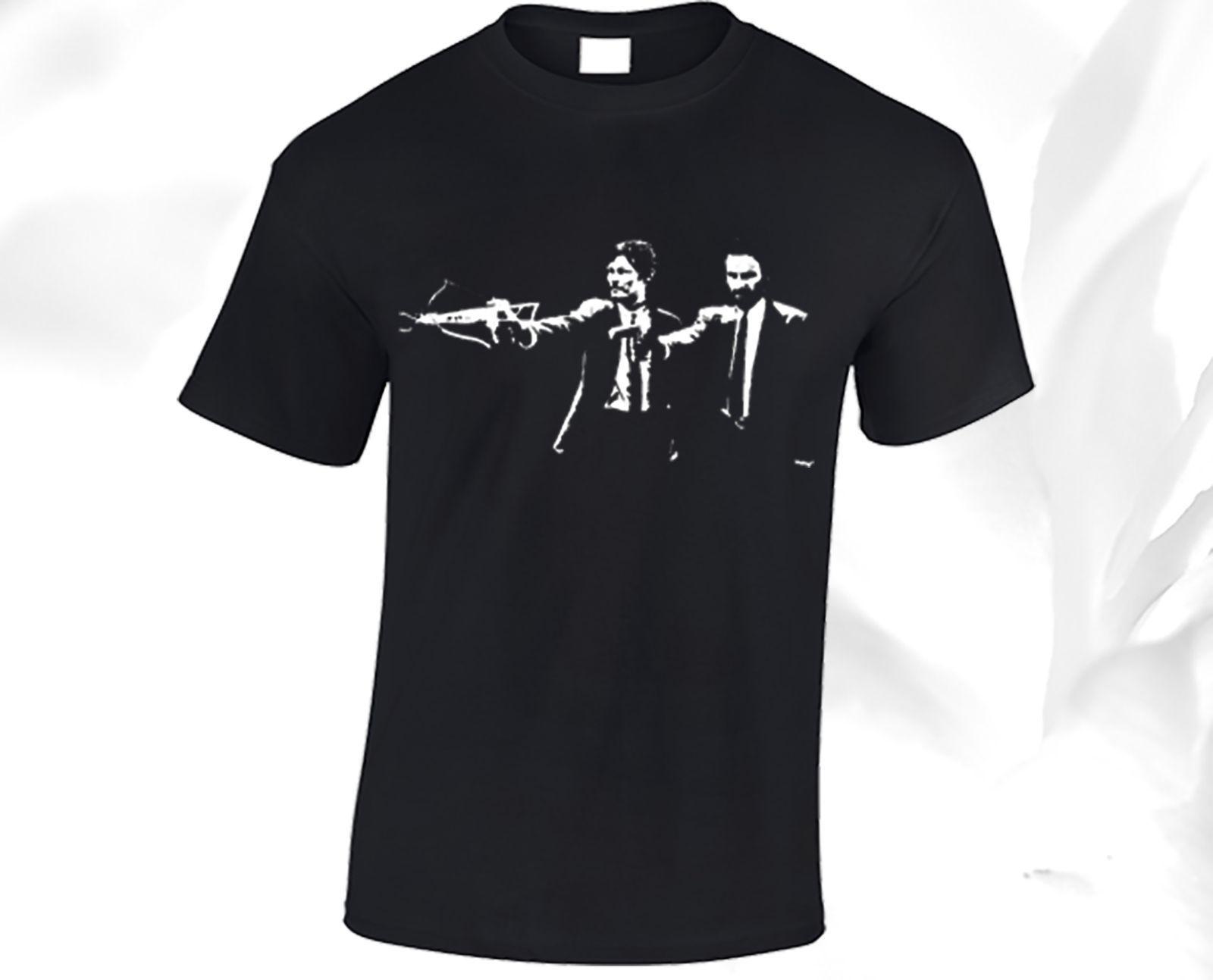 The Walking Dead T Shirt Mens Pulp Fiction Black Daryl Dixon Rick Peplum Dress Purple Zombie 2018 Fashion Brand O Neck 100 Denim Shirts Design From