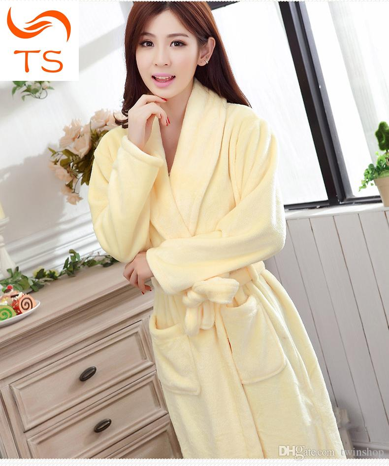 205cf2df6b Couples Thickening Flannel Robe Lovers Male Or Female s Long-sleeve Autumn  And Winter Sleepwear Lounge Coral Fleece Bathrobe Bathrobe Coral Fleece  Couples ...