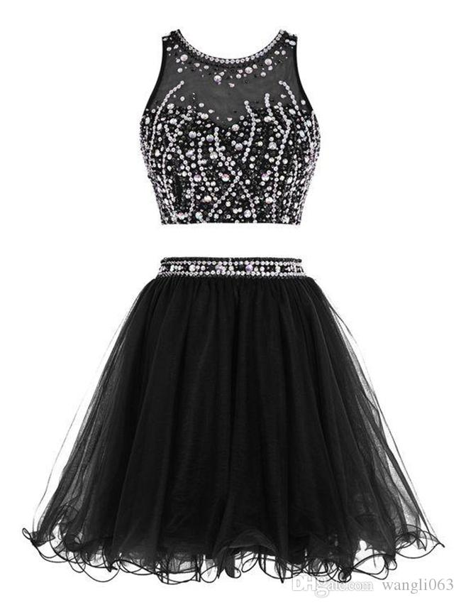 Black Prom Short Party Dress 2018 Sequins Two Pieces Homecoming Dress Jewel Neck Sleeveless Formal Gowns Little Black Dress