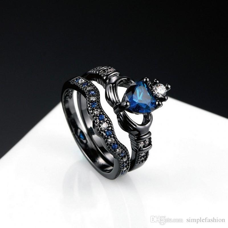 Vecalon Claddagh Женщины Обручальное обручальное кольцо Синий камень циркон Cz 10KT Черное золото Заполненные Birthstone Bridal устанавливает кольцо