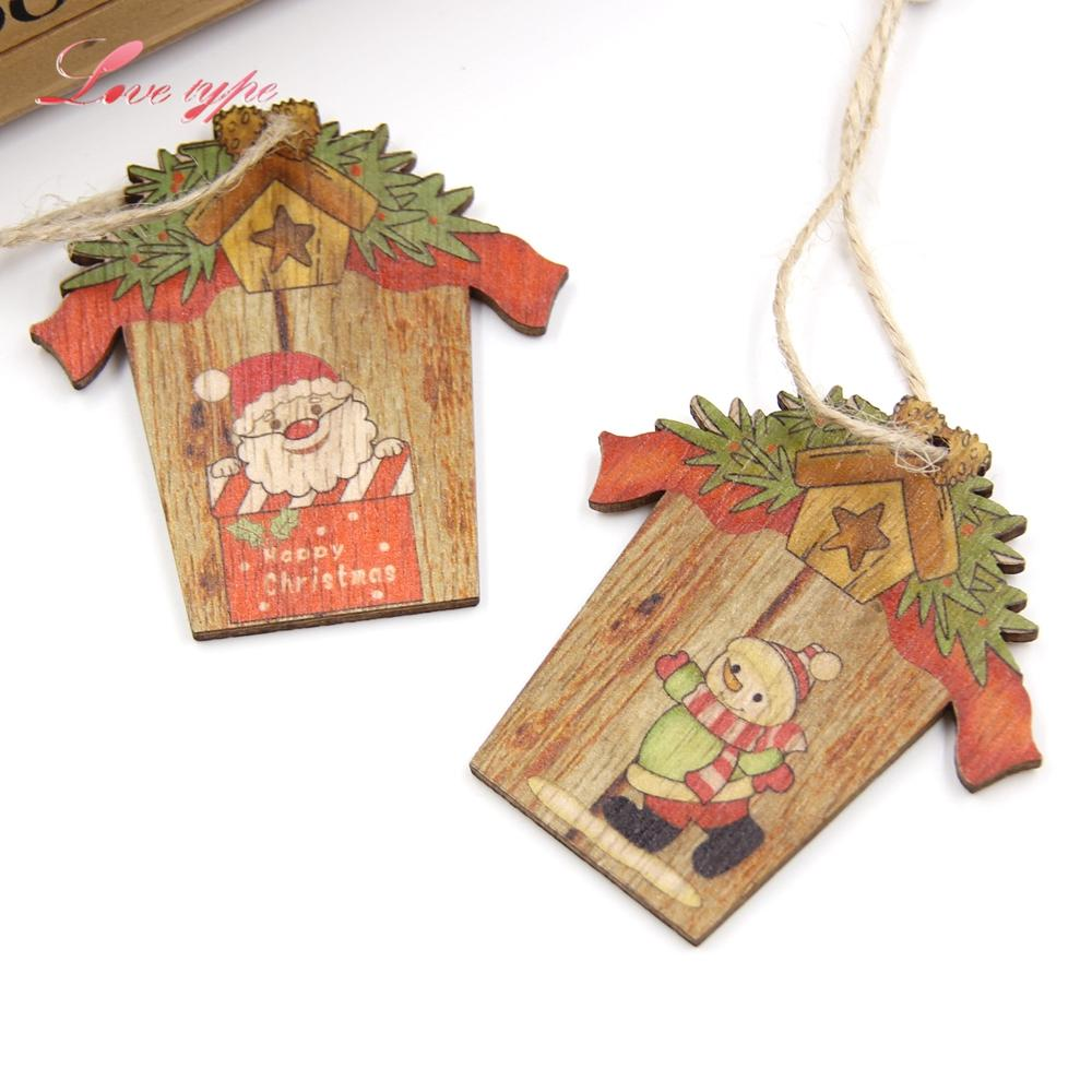Mini House Christmas Wooden Pendants Xmas Tree Ornaments Diy Wood