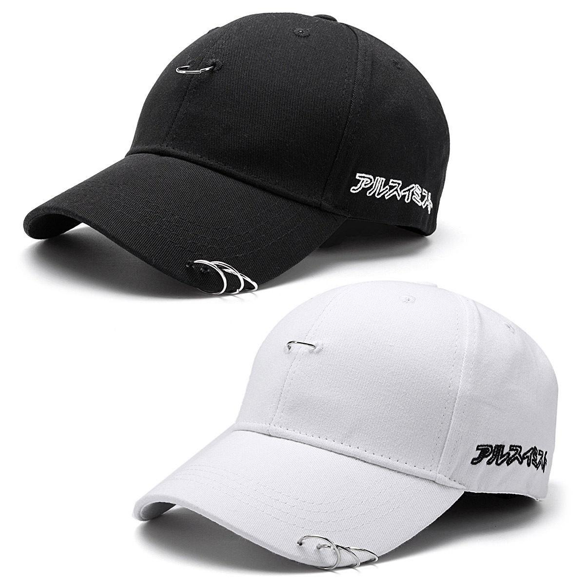 81e06ab63c3be 2019 Baseball Cap Unisex Solid Ring Safety Pin Curved Hats Baseball Cap Men  Women Snapback Caps Casquette Gorras From Jianpin