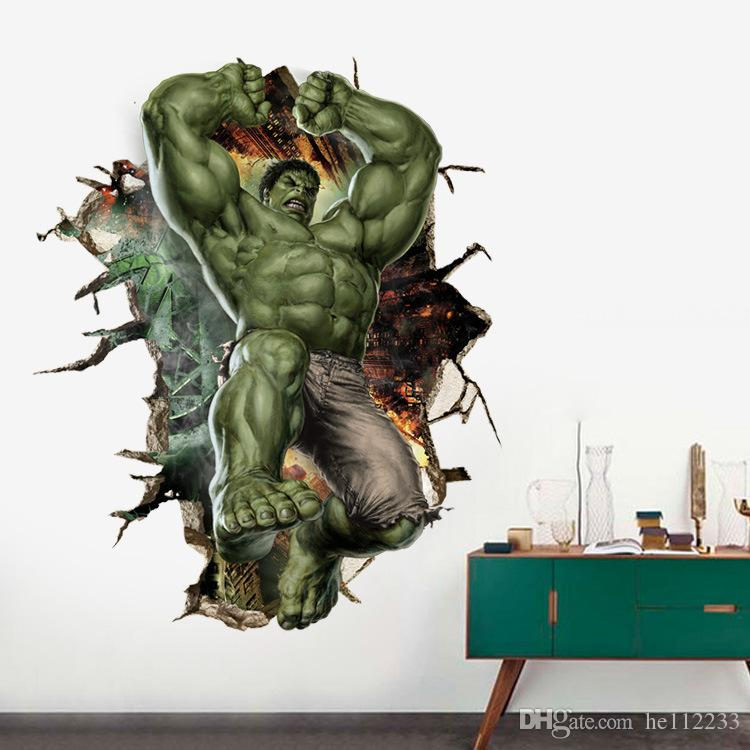 The Hulk Cartoon 3D Wall Stickers Wallpapers PVC Waterproof Can Be Removable Wall Murals Bedroom Living Room Background Home Decoration