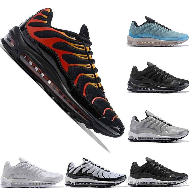 Newest 97 Plus Mens Womens Running Shoes Fire Red Light Green Core ... b34866c10